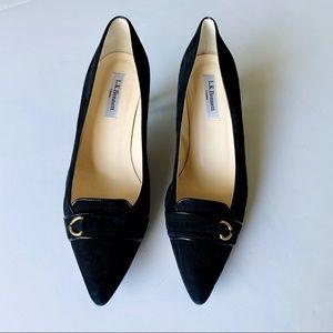 L.K. Bennett London Suede Leather Black Heels